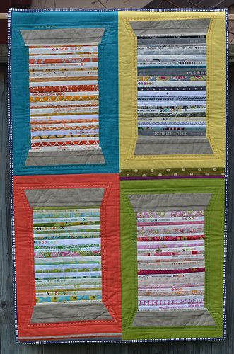 """Krista's """"Quilter's Memory Quilt"""" from FQ Issue 8 - awesome way to remember some of my favorite quilt projects!"""