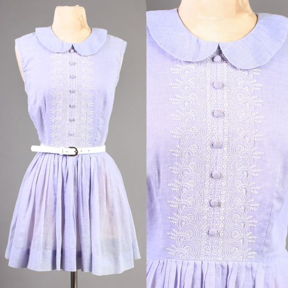 vintage LILAC tuxedo DOLLY COLLAR spring sun mini by LuxieVintage