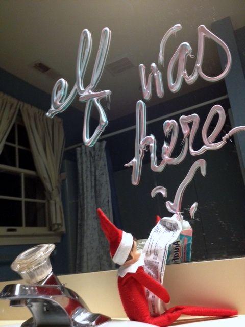 Shelf Elf I need to keep collecting ideas!: Elfie Ideas, Elf Write, Cute Elf On The Shelf Ideas, Christmas Elf, Elf On A Shelf Funny, Bathroom Mirror, Elfontheshelf, Shaving Cream, Elf Toothpaste