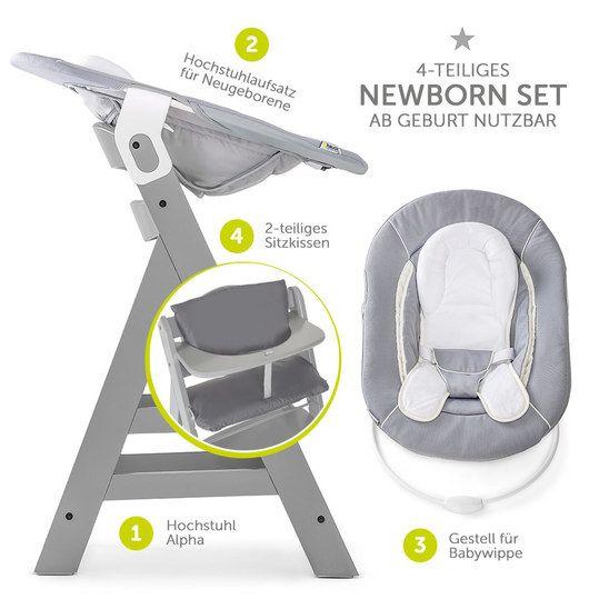 Hauck Alpha Plus Grey Newborn Set 4 Tlg Hochstuhl