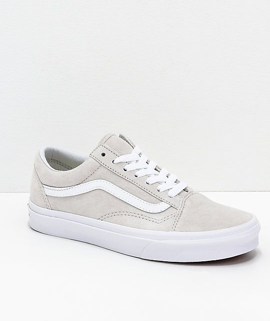 Vans Old Skool Moonbeam & White Pig Suede Skate Shoes