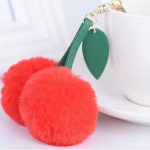 Faux Fur Ball Cherry Shaped Keychain Charm Pompom Meraki