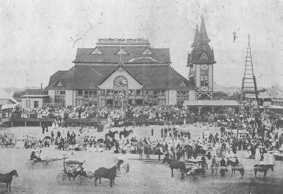 Designed by Nicholas Clayton, the Electric Pavilion at 23rd and the beach became the earliest major beach attraction when constructed in 1881 by the Galveston City Railway Company.  The wood frame building is believed to be the first use of electric lights in Texas.  It was a popular spot for two years before burning on August 1, 1883.  (Courtesy Scott and Holly Hansen, Private Collection).: