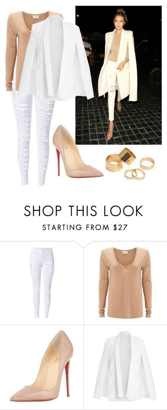 """""""Gigi Hadid"""" by tasha-m-e ❤ liked on Polyvore featuring American Vintage, Christian Louboutin, Pieces, women's clothing, women, female, woman, misses and juniors"""