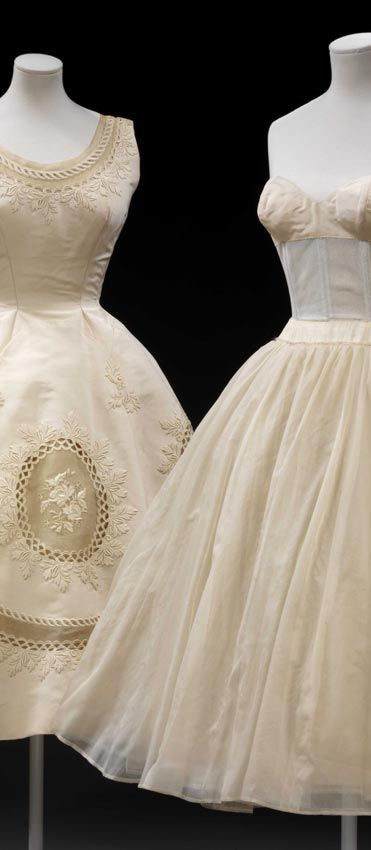 "V and A ""Golden Age of Couture""   Pierre Balmain (1914-82)  Paris  About 1950  Dress: silk grosgrain with machine-made Swiss embroidery  Petticoat: boned silk net and silk  Given by Mrs G. Sachet  Museum no. T.349"