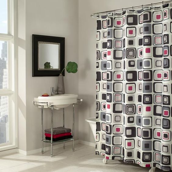 Blocks Red Fabric Shower Curtain by M.Style