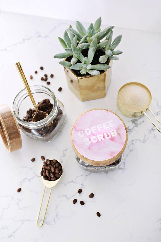 Homemade vanilla latte coffee scrub