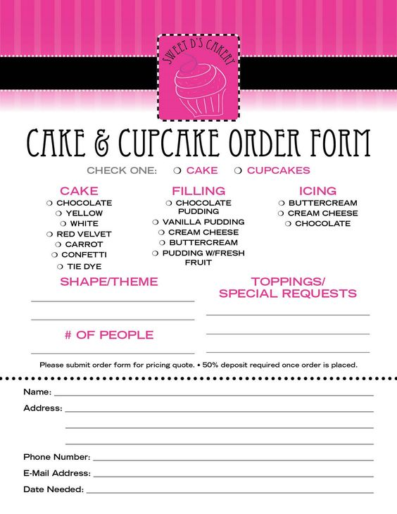cake order contract | Cake Contract Order Form http://