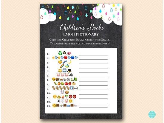 Children S Book Emoji Pictionary Game Printabell Pictionary Printable Baby Shower Games Children S Books
