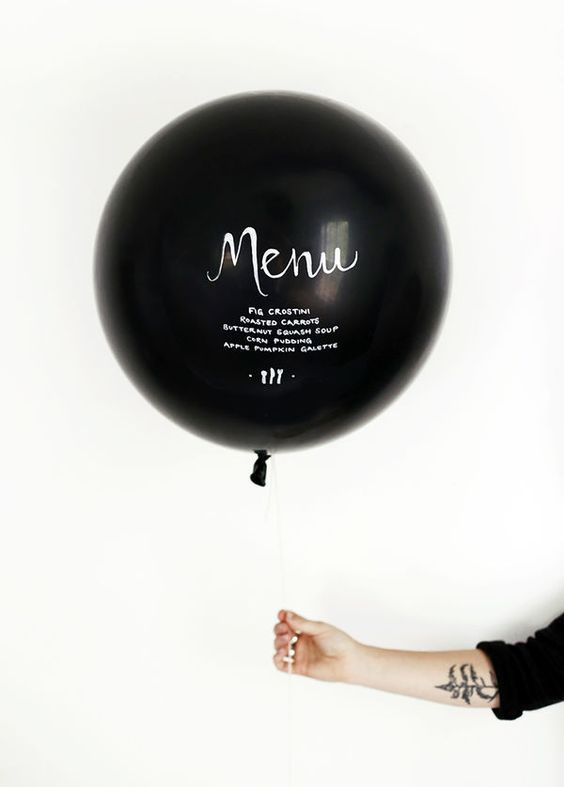 10 Black and White Wedding Ideas Black Balloons, Wedding Menu