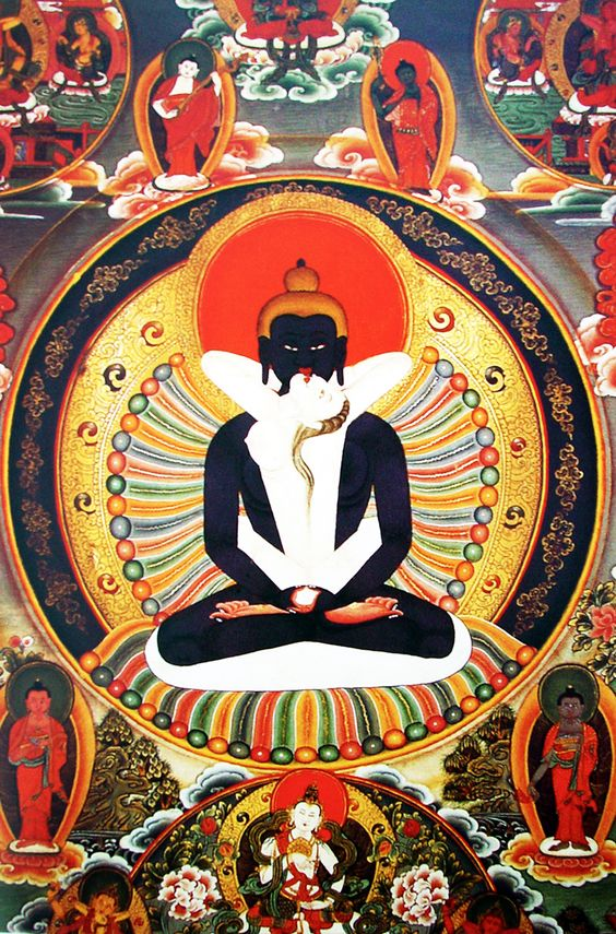 Sacred Union Yab Yum. Precious Thangka painting of Samanthabadra. Himalayan Art Online Shop.
