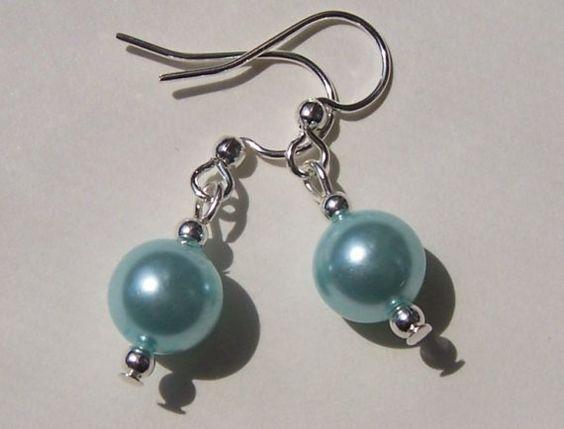Something Blue  Glass Pearl Earrings by ColetteMazunik on Etsy, $18.00