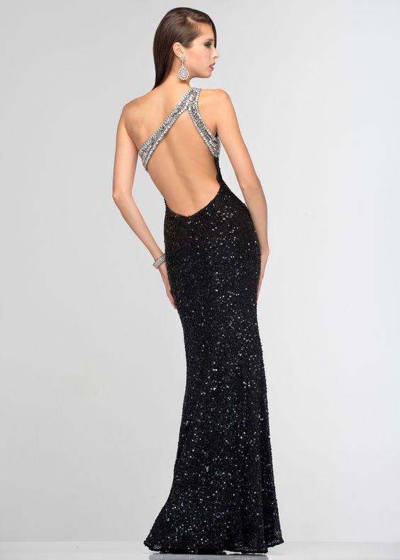 Scala 47541 Sequin Evening Gown - Open Back Black Sequin Evening ...