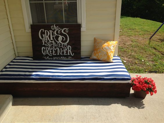 Grass is always greener.. Where you water it! On a pallet stained and painted