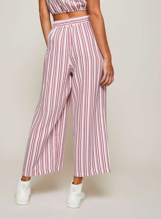 Red linen striped cropped trousers - Clothing - New In - Miss Selfridge