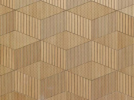 Detalle de decoración con paneles acústicos de madera