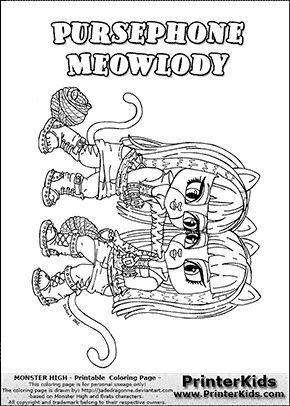 monster high pursephone and meowlody baby chibi cute coloring page - Monster High Chibi Coloring Pages