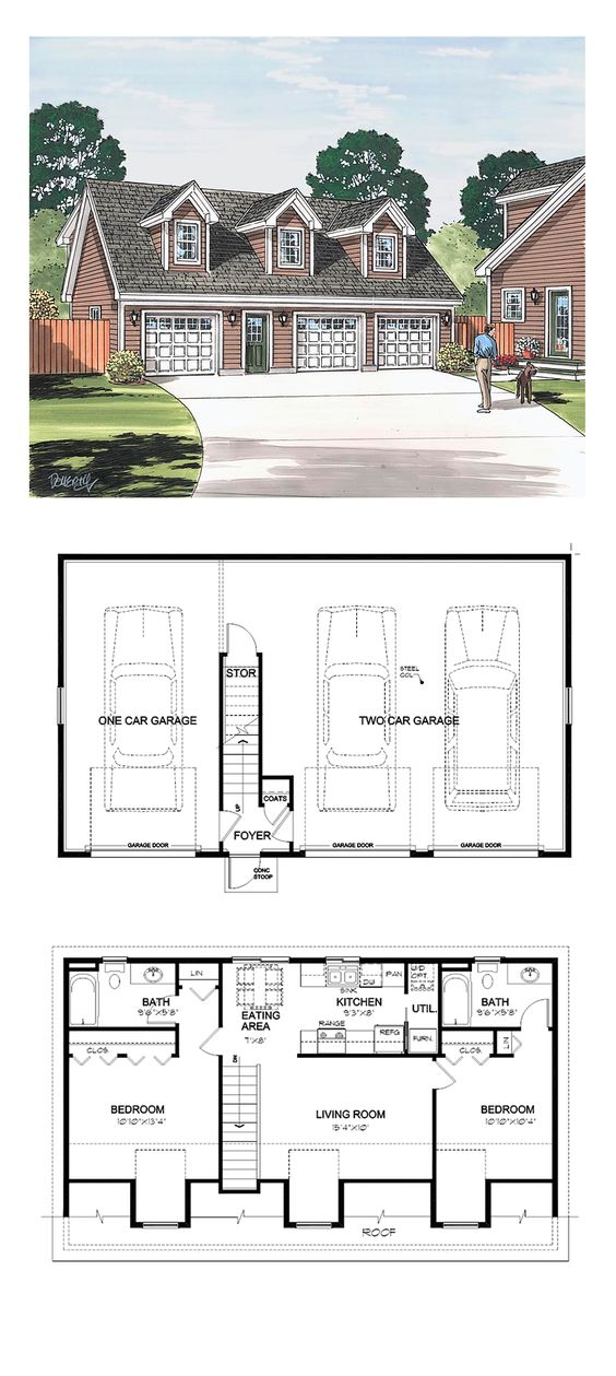 Garage Apartment Plan 30032   Total Living Area: 887 sq. ft., 2 bedrooms and 2 bathrooms. Garage Area: 1068 sq. ft. #carriagehouse