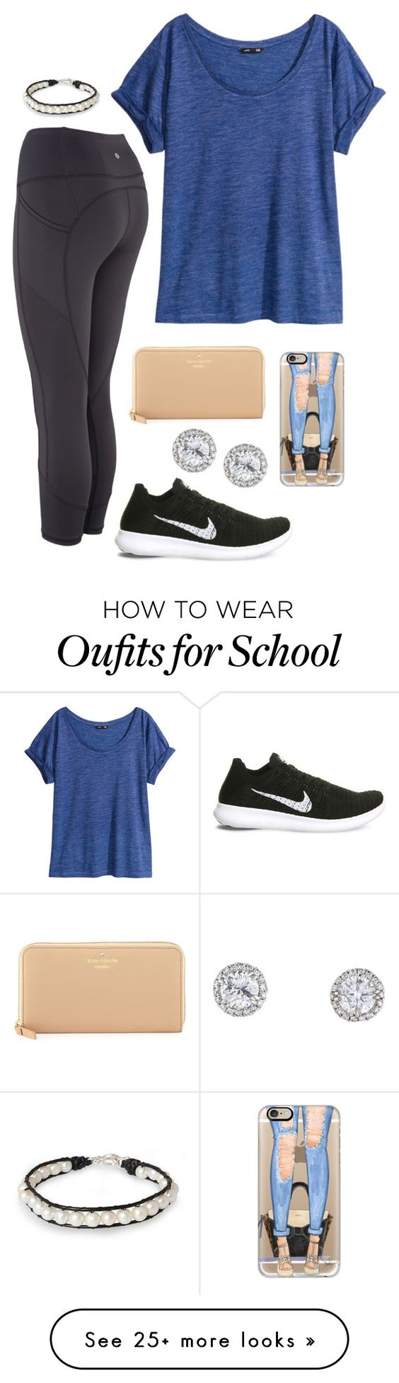"""""""School"""" by classygrace on Polyvore featuring NIKE, H&M, NOVICA, Kate Spade, Casetify and gracesfavorites"""