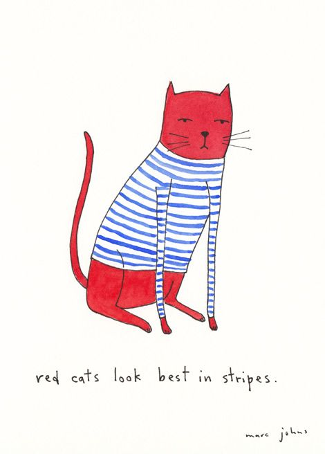 red cats look best in stripes (by Marc Johns):