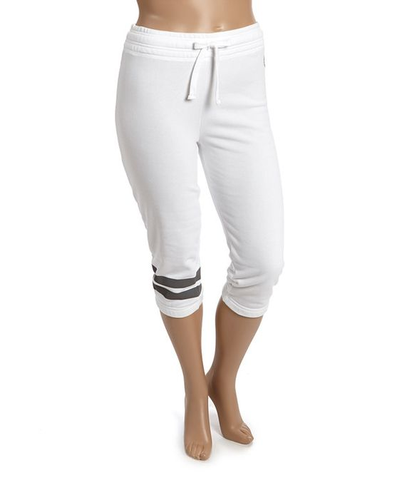 Look at this White & Black Contrast Stripe Active Pants - Plus on #zulily today!