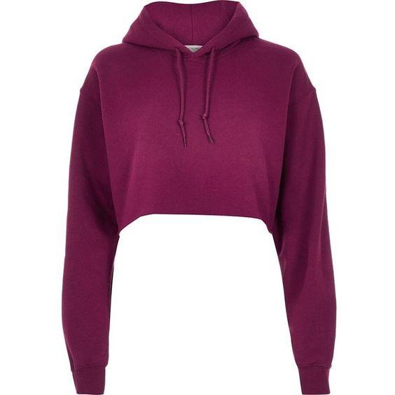 River Island Purple cropped hoodie ($44) ❤ liked on Polyvore featuring tops, hoodies, purple, sweatshirts, t shirts / tanks, women, purple hooded sweatshirt, cropped hoodie, long sleeve hooded sweatshirt and cropped hoodies
