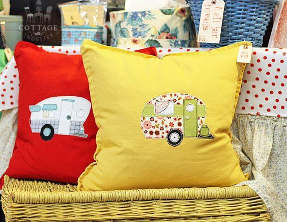 Vintage camper appliqué embroidery pillows
