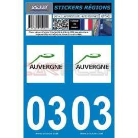 Sticker plaque auto Allier 03