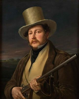 Gentleman in Hunting Clothes by Giuseppe Molteni (Italian 1800-1867)
