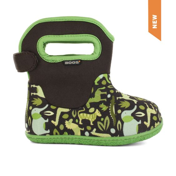 The Baby Bogs Zoo by Bogs Footwear. Now the littlest Bogs® fans have their own Baby Boot. 100% Waterproof and constructed with 3mm Neo-Tech™ insulation with a plush lining to keep tiny toes dry and cozy. Machine washable and  easy pull-on handles make this ideal first shoe for the future Bogs adventurer. 100% satisfaction guaranteed.