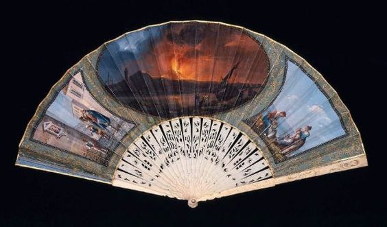 Fan, about 1820, Italy. Double skin leaf. Obverse: three vignettes, Mount Vesevius erupting center, musicians playing to virgin left, family by shore right; green background with scrollwork surrounds. Reverse: three vignettes, Bay of Naples center, family cooking and eating pasta left, musicians and dancers right; orange background with green scrolling vines surrounds - in the Museum of Fine Arts Boston.