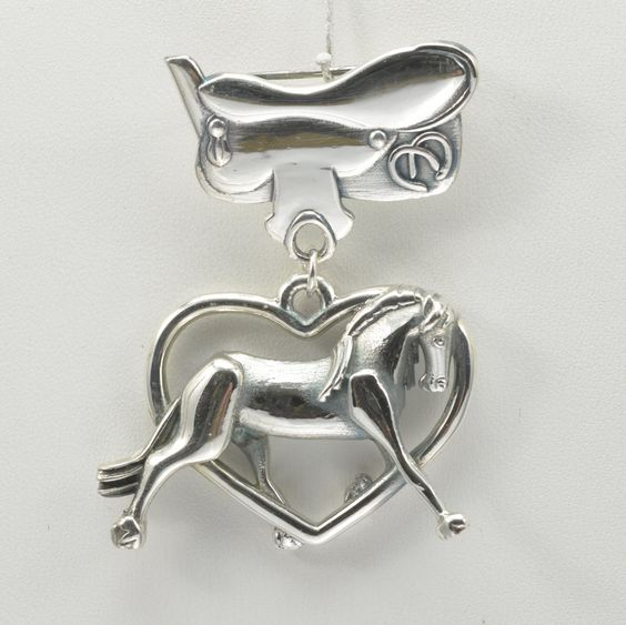 Sterling Silver Friesian Horse Pin & Saddle Pin by Donna Pizarro fr her Animal Whimsey Collection of Horse Jewelry by DonnaPizarroDesigns on Etsy