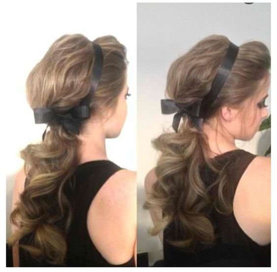 Fantastic Simple But Cute Hairstyle With A Ribbon Hair Pinterest Cute Hairstyles For Women Draintrainus