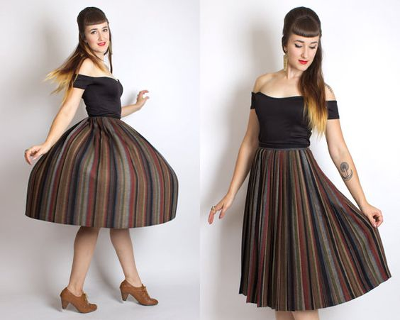 Vintage 50s Style STRIPED ACCORDION PLEAT Wool Skirt // 80s 1980s Colorful Fall Multicolor Stripes High Waist Knee Length Warm Skirt (s)