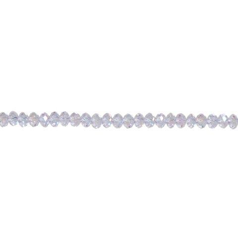4 x 6mm Rondelle Crystal Bead Strand - Lavender Purple Aurora Borealis