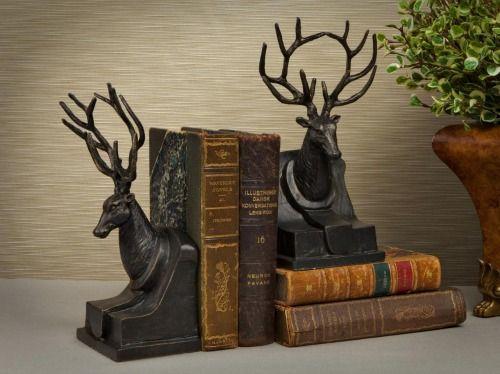 Deer bookends and cottages on pinterest - Deer antler bookends ...