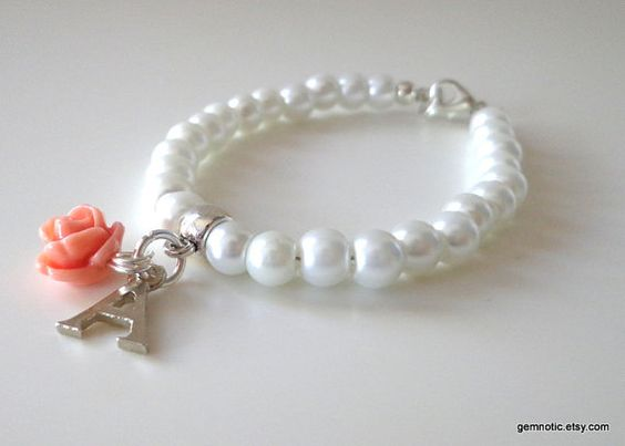 Childrens personalized bracelet, flower girl bracelet, flower girl gift, kids pearl bracelet, wedding jewelry on Etsy, $9.84