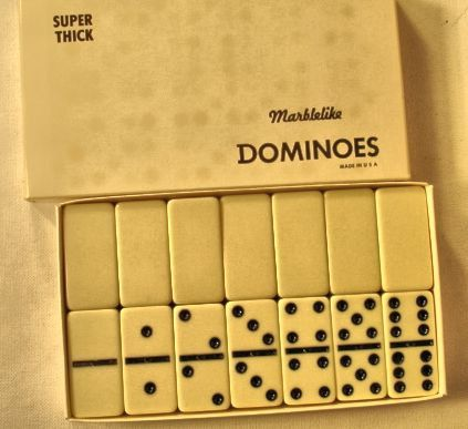 Vintage Set White Dominoes by Puremco Co. Waco Texas