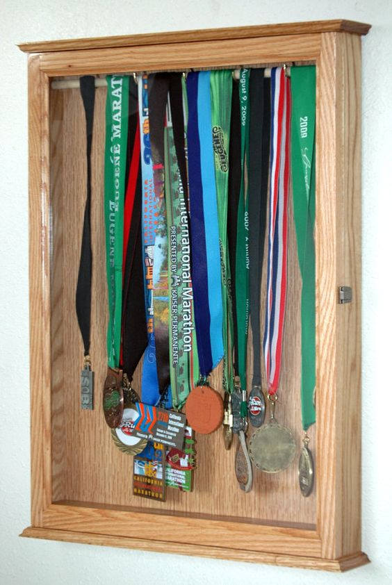 Sports Trophy Display Hanging Wall Cabinet Medal