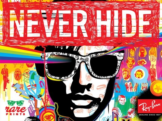 "Ray Ban. ""Never Hide"" (Clubmaster Sunglasses). Rare Prints."