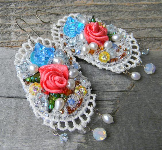 Hopeless Romantic  Artisan Shabby Chic Bohemian by FireImp on Etsy. Light weight textile earrings with a feminine romantic style. Designed with pinky coral flowers and hand beaded lux such as pearls and swarovski crystals.