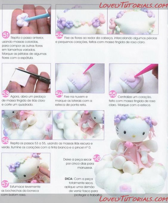 Tutorial on how to make Hello Kitty in gum paste / fondant / clay