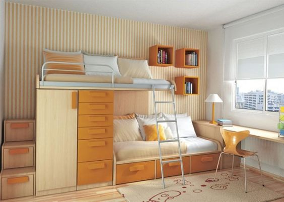 Save Space in the Cute Bedroom.... love! i need this for my boys room.