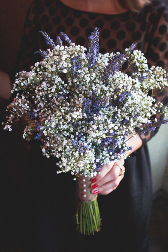 Babies breath bridesmaid bouquets and lavender on pinterest