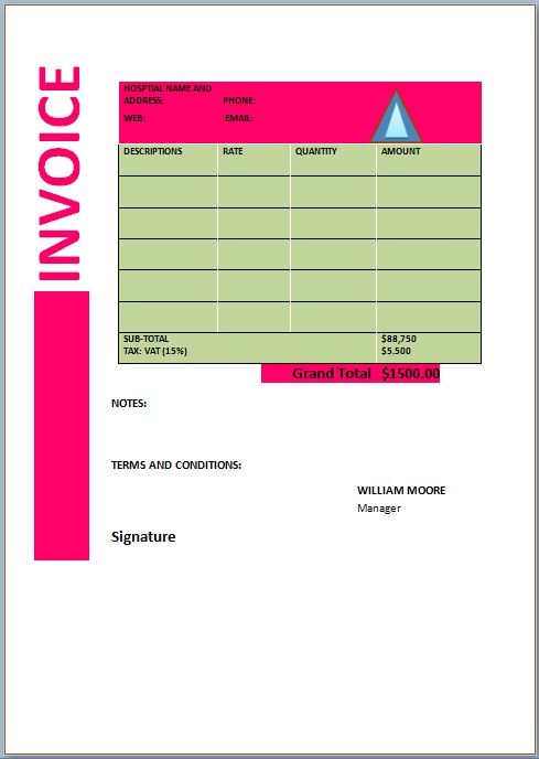 20 Free Sample Medical Invoice Templates In Word Format Invoice