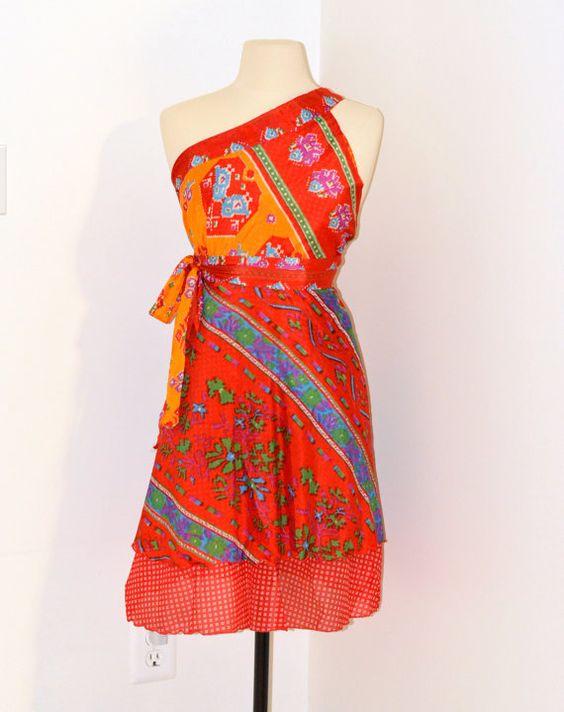 Clearance sale Silk Sari Wrap Skirt/wrap by TopsyCurvyDesigns