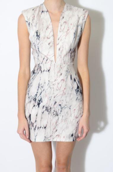 Marble Print Plunge Bodycon Dress