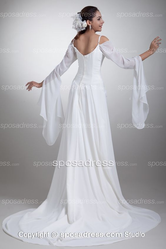 Ethedreal Long Sleeved Off-th-shoulder Chiffon Wedding Dress With Straps:
