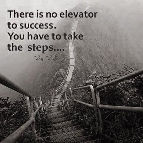 There is no elevator to success. You have to take the steps.: