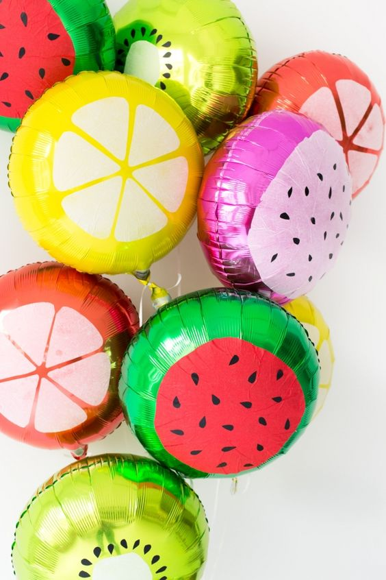 Fruit slice balloons are so fun and festive! Perfect addition to a summer party!